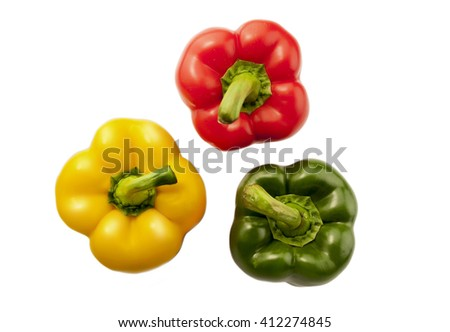 Three peppers on a white background