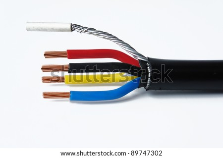 three phase cable on isolated white background