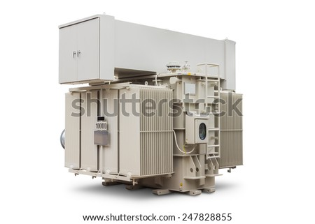 Three phase 10000 kVA (or 10 MVA) conservator type with radiator fin equips with forced air cooling fan, oil immersed power transformer, isolated on white background with clipping path - stock photo