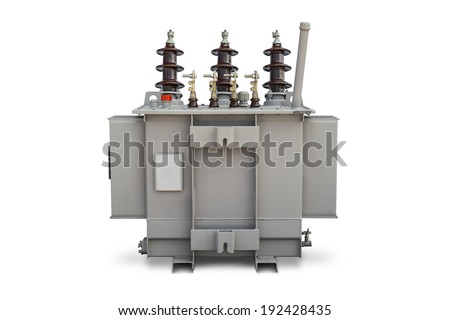 Three phase (100 kVA) pole mounted corrugated fin hermetically sealed type oil immersed transformer, supporting side, isolated on white background with clipping path - stock photo