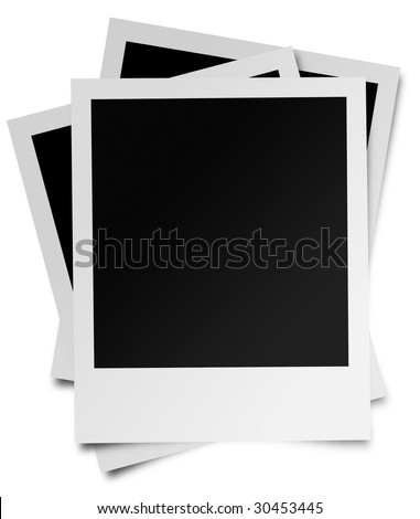 Three photographs piled on top of each other in a random fashion. Isolated on white. - stock photo