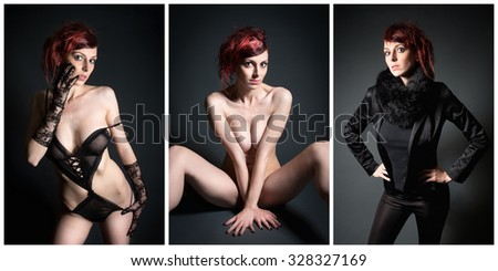Three photos of an attractive fashion model with red hair, her private parts are not visible - stock photo