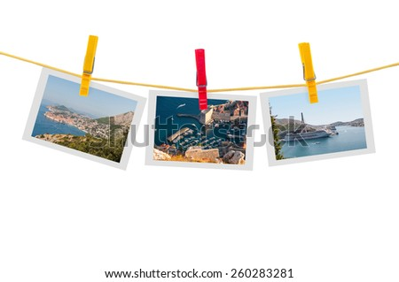 Three photos of Dubrovnik on clothesline isolated on white background with clipping path