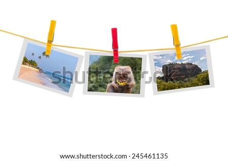 Three photos of Sri Lanka on clothesline isolated on white background with clipping path