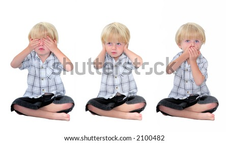 Three photos of young boy or child depicting the phrase or term See no evil, Hear no evil, Speak no evil. Image has white, isolated background.