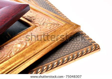 Three picture frames are overlap and isolated on white background. - stock photo