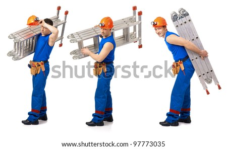 Three picture workers with step-leader against white background - stock photo