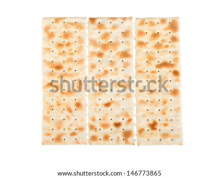 Three pieces of flatbread isolated on white background