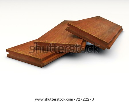 three pieces of grooved wooden boards lying on white - stock photo