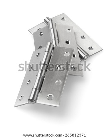 Three Pieces of Stainless Steel Door Hinges On White Background - stock photo