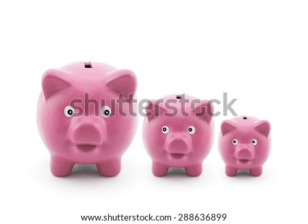 Three piggy banks - stock photo