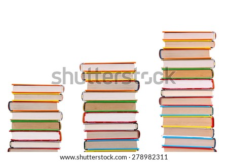 Three Pile of the Books Isolated on the White Background - stock photo