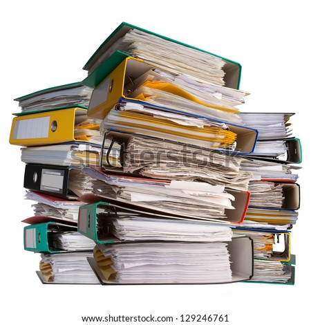 three piles of file binder with documents - stock photo