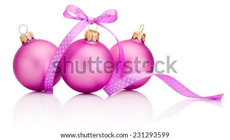 Three pink Christmas ball with ribbon bow Isolated on white background - stock photo