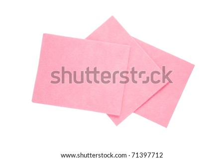 Three pink cleaning napkins on a white background - stock photo