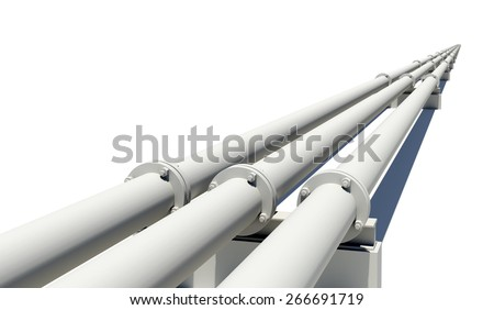 Three pipes stretching into distance. Isolated on white background - stock photo