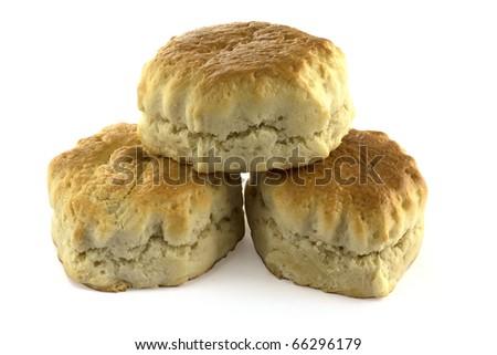 Three plain scones isolated on white. - stock photo