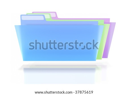 Three plain semi-transparent color coded folders lined up on a white background.