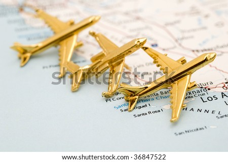 Three Planes Leaving California. - stock photo