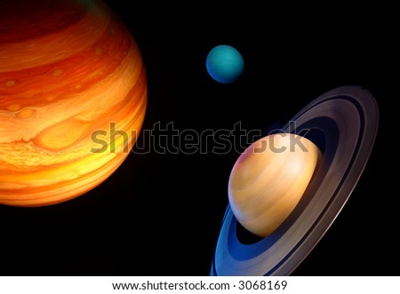 three planets in space - stock photo