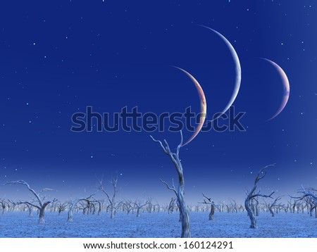 Three planets rise over dead lands - stock photo