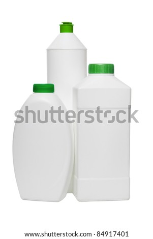 Three plastic bottles for household cleaning products on white background - stock photo