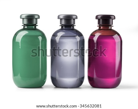 Three Plastic Bottles With Shampoo, Liquid Soap, Shower Gel. Isolated on white background . with clipping path - stock photo
