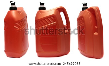 Three plastic canisters with machine oil isolated on white background.  - stock photo