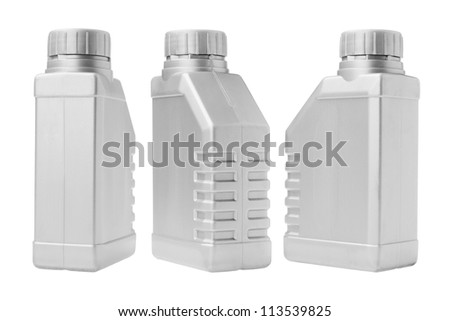 Three Plastic Containers on White Background - stock photo