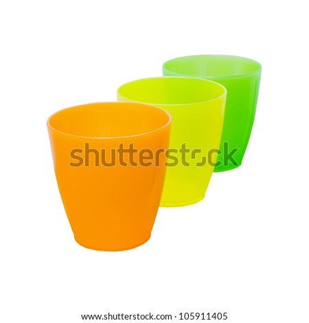 three plastic glasses isolated on white