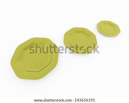Three plates on white background isolated