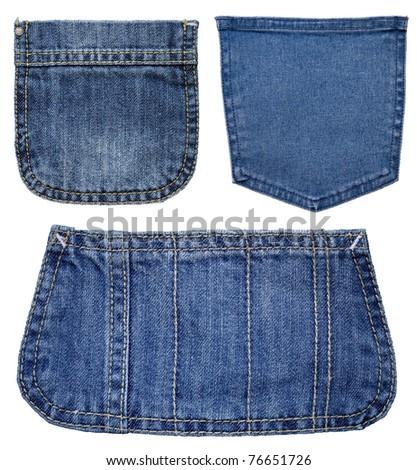 Three pockets of jeans - stock photo