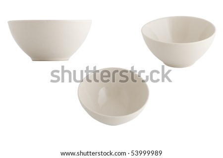 three point of view of empty bowl - stock photo