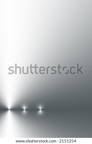 Three points of light in a horizontal line on a silver grey and white gradient background. - stock photo