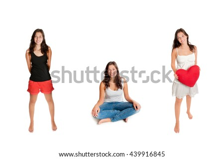 Three portraits of an eighteen year old girl wearing different outfits, isolated on white studio background - stock photo