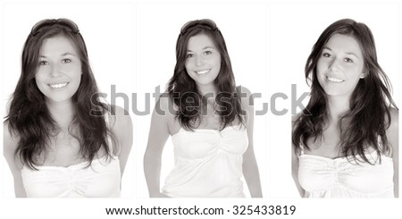 Three portraits of the same young woman, smiling and happy, in front of white studio background, monochrome photos - stock photo