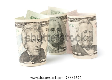 three portraits of U.S. presidents on dollar bills isolated on white - stock photo