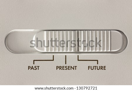 Three position slider switch with options for past present and future - stock photo