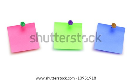 Three post it notes isolated on white - stock photo