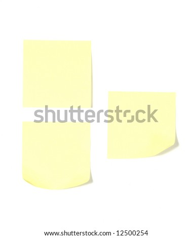 Three post its on a desk in an office isolated on white - stock photo