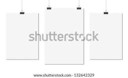 three poster clips on white background - stock photo