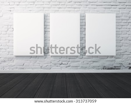 Three poster hanging on the wall in the interior. mock up - stock photo