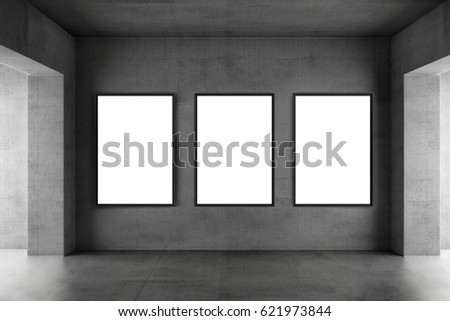 Three posters mockup in a industrial interior 3d render