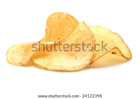 Three potato chips isolated on a white background. - stock photo