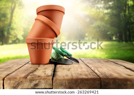 three pots and table of wood  - stock photo