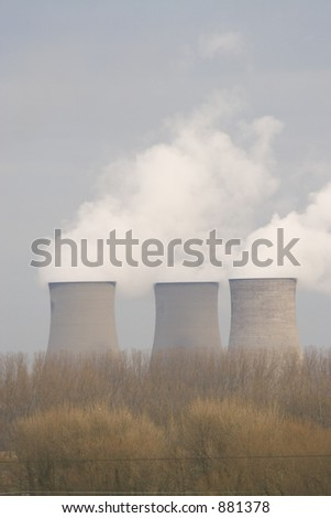 Three power station cooling towers.
