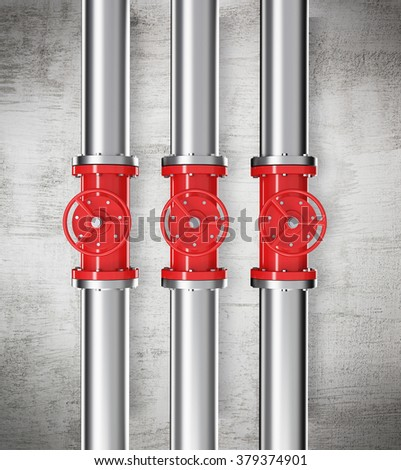 Three prallel vertical metal pipes with red taps. Concrete background. Concept of pipeline. 3D rendering.