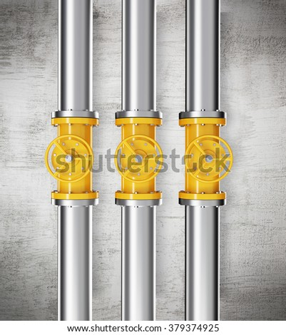 Three prallel vertical metal pipes with yellow taps. Concrete background. Concept of pipeline. 3D rendering.