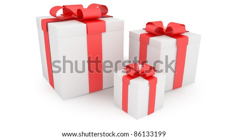 three presents on white background