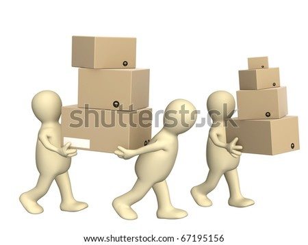 Three puppets with boxes. Isolated over white - stock photo